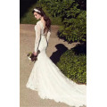 2017 Gorgeous Lace Appliqued Long Sleeve Backless Long Trail White Mermaid Graceful Wedding Dress