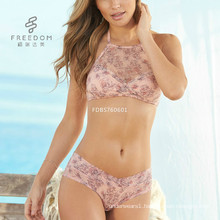 2017 summer latest printing hanging neck Organza multi-color bra and panty set