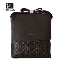 Custom-made Leather Men Handbags Knit Pattern Leather Business Bag