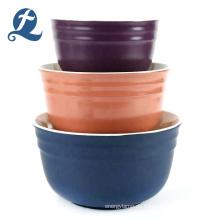 Neue Art Farbe benutzerdefinierte nach Hause matt billig runde Keramik Salatschüssel