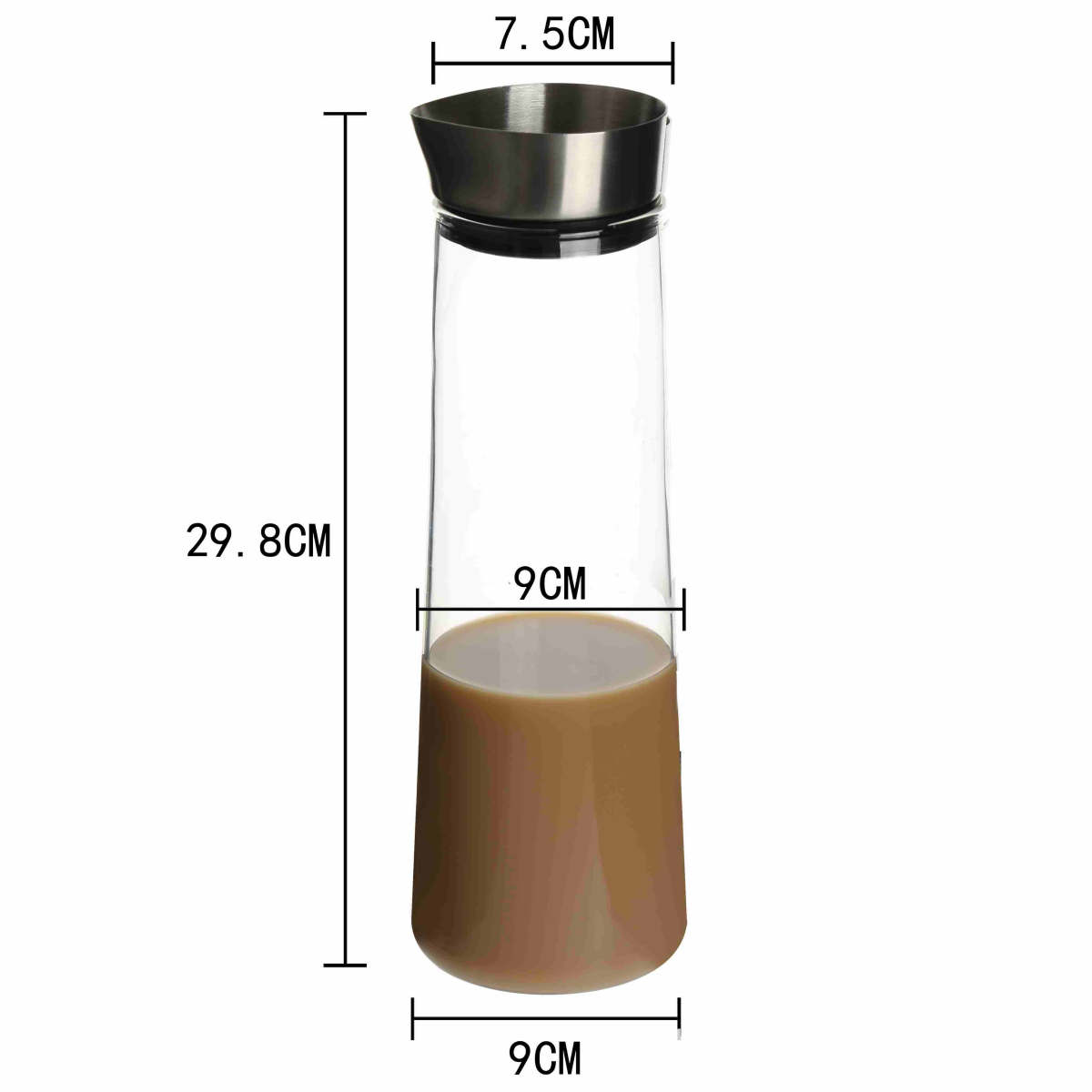 high borosilicate Glass heat cold resistant best quality coffee milk tea carafe pot maker pitcher with airtight stainless steel lid 00 (18)