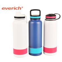 Nova garrafa de água desportiva de aço inoxidável com manga de silicone