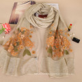Nouvelle arrivée belle broderie rose design floral fashion coton lady foulard en gros