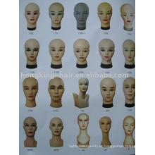 Cabeça da peruca da falsificação do cabelo humano de 100% para o corte e o treinamento