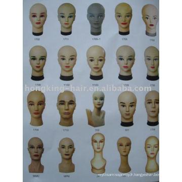 100% faux cheveux perruque humaine tête pour la coupe et la formation
