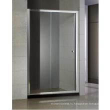 Раздвижная душевая дверь один неподвижный и один подвижный