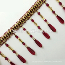 Polyester Curtain Tassel Frilled Triangles, Crystal Frilled Triples