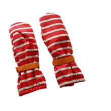 Raya rojo PU impermeable lluvia manopla/lluvia guante/impermeable con boton para bebé/Chilid