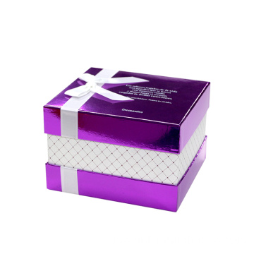 Mewah OEM Gloss Purple Gift Box Kertas Hadiah