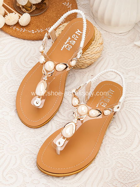 Unique T-Bar Sandal Trim With Fashion Resin Stone Embellished for Lady's Sandals
