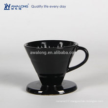 Black Painting Round Shape Drain Cup, Fine Porcelain Tell Drain Cup
