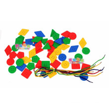 2014 new item Cheap threading block toy for preschool and kindergarten