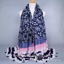 Fashion Stylish Floral And Stripes Print Hijab Women Muslim Scarf Hijab