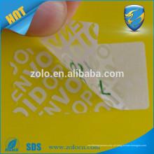 Número de série digital segurança de transferência total VOID etiqueta adesivo vazio