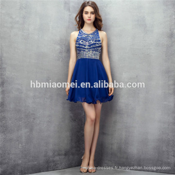 2017 bleu royal mini design 2 pcs ensemble robe de soirée backless heavey perles robe de demoiselle d'honneur traditionnelle