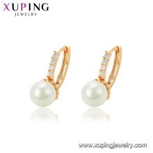 95132 xuping fantaisie conception boucle d'oreille en or, en gros blanc perle boucle d'oreille nouveaux modèles or boucles d'oreilles créoles