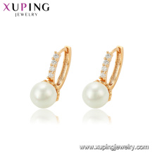 95132 xuping fancy design gold earring, wholesale white pearl earring new models gold hoop earrings