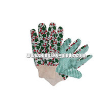Light Weight PVC Dotted Knit Wrist Cotton Garden Glove (2620)