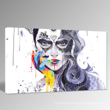 Abstract Women Face Canvas Art/Colorful Hand Design Picture Wholesale/Sexy Lip Wall Art for Wall Decoration