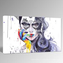 Абстрактные Женщины Лицо Холст Art / Красочные Рука Дизайн Фотография Оптовая / Сексуальная стены стены искусства для украшения стены