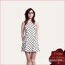 Best Sell Women White Polka DOT Dress 2014 (S20353)