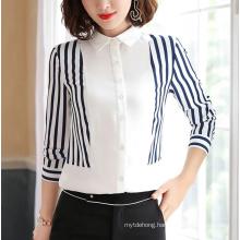 Fashion Stripes Shirt Women Slim Bow DOT Design Patchwork Blouses