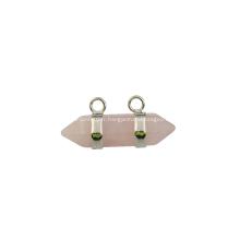Pendentif Bicone hexagonal en quartz rose pour bijoux, cadeau d'anniversaire