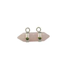 Rose Quartz Hexagon Bicone Pendant for Jewelry Earring as Birthday Gift