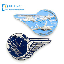 Unique Design Personalized Custom Metal Enamel Silver Plated Pilot Wing Shaped Embossed 3D Military Air Force Challenge Coin for Souvenir