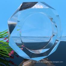 Runder Kristallglas-Zigarrenaschenbecher für Hotel-Dekoration