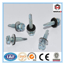 factory customized galvanized hex head self drilling screw with EPDM rubber washer