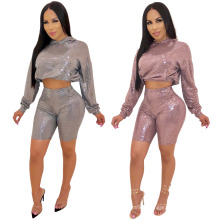 Hot-Selling 2021 Spring Shiny Sweater 2 Piece Sexy Sets Women Bodycon Shorts Long Sleeve Suits Two Pieces Women Set