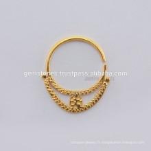 Exportateurs à bijoux en or plaqué design - Sterling Silver Tribal Septump Nose Jewelry