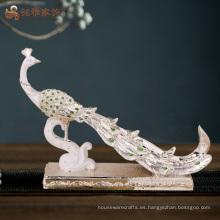 Estatua al por mayor del pavo real de la resina del pasillo de la manía para la decoración casera
