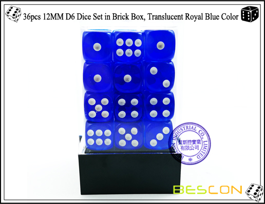 36pcs 12MM D6 Dice Set in Brick Box, Translucent Royal Blue Color-2