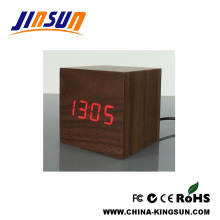 Portable Size Kids Alarm Wooden Led Clock Lovely