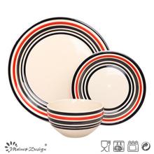 Set de cena de gres con círculo de colores pintado a mano