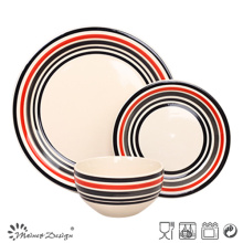 Handpainted Color Circle Stoneware Dinner Set