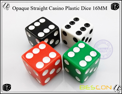 Opaque Straight Casino Plastic Dice 16MM