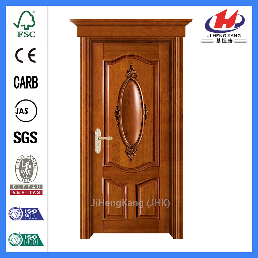 hk-006-Cs Red Oak Wood - Puerta interior sólida de 6 paneles