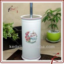 Weiße Glasur farbige Abziehbild keramische Toilettenbürste und Halter Set