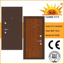 Porta de aço interior da segurança do MDF de madeira moderno (SC-A208)