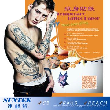 Tipo de transferencia de tobogán de agua Etiqueta de característica temporal tatuaje