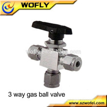 high pressure ss316 three way 6000 psi gas ball valve