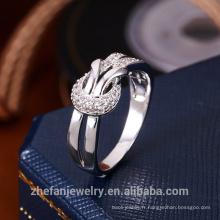 Nouvelle arrivée femmes bijoux en forme de double couche doigt bague avec pierres précieuses