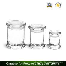 8oz Glass Metro Jar avec couvercle plat pour décoration intérieure