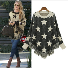 Women′s Pullover Long Sleeve Five Star Sweater Casual Stylish Loose Knitwear Poncho