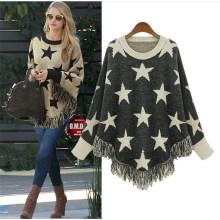Пять звезд свитер повседневный стильный свободный вязаный свитер пончо женский пуловер с длинным рукавом
