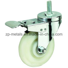 3inch White PP Screw Caster Wheel with Brake