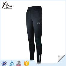 Frauen schwarz Polyester Spandex Leggings Laufbekleidung